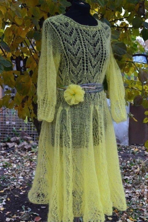 """Купить Платье """"Фея осеннего сада"""" - жёлтый, платье, вязаное платье, платье мохеровое"""