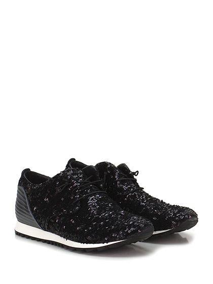 Donna Carolina - Sneakers - Donna - Sneaker in pelle laminata e paillettes reversibili con laccio elasticizzato e suola in gomma. Tacco 20. - NERO\GRIGIO - € 169.00