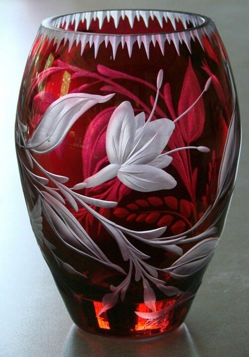 Cranberry Vase hand engraved by Catherine Miller using stone wheels