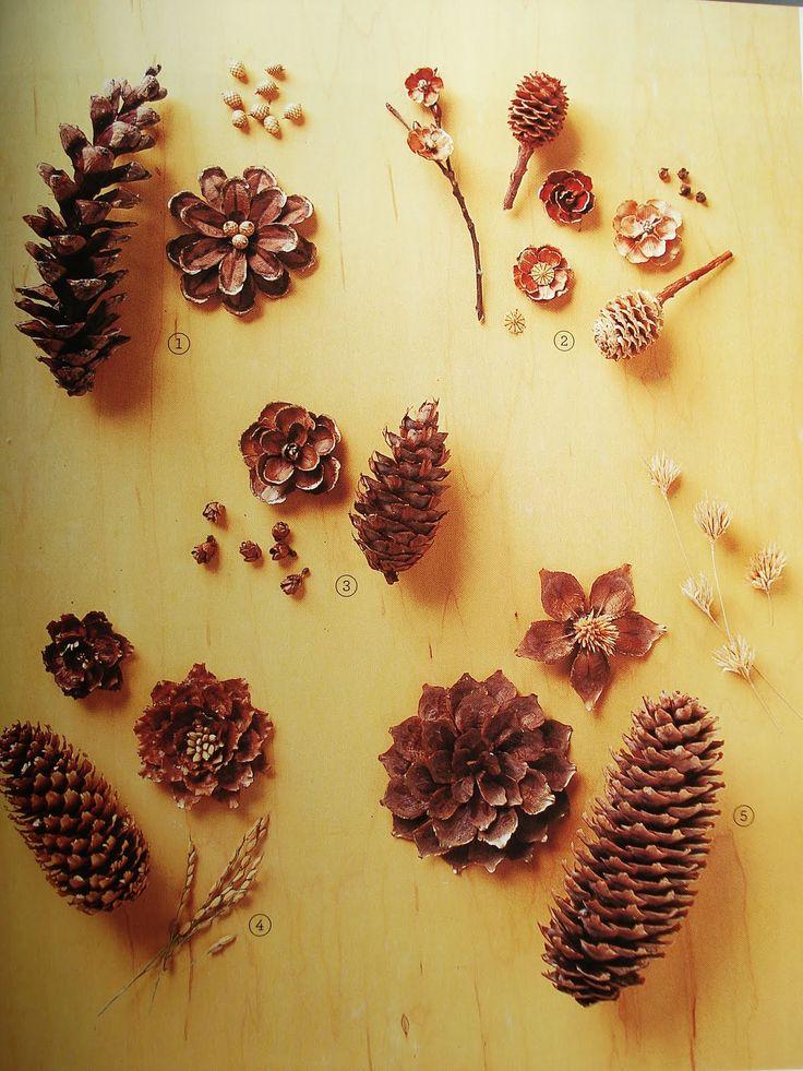 Graziosi fiori creati con le squame delle pigne