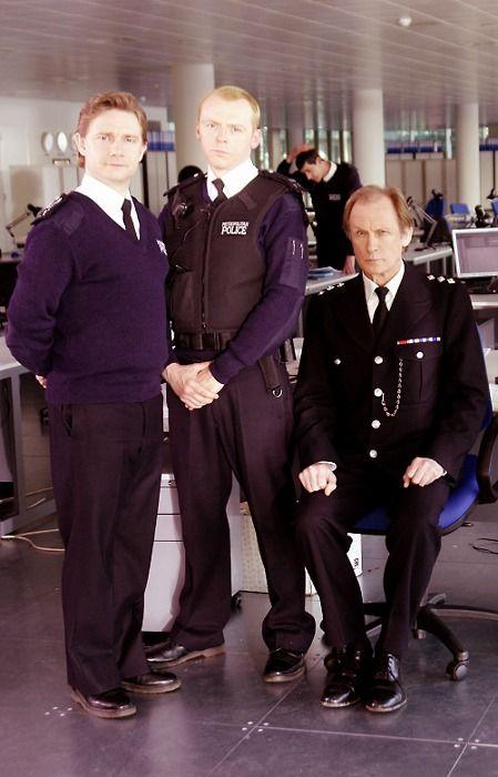 Martin Freeman, Simon Pegg, & Bill Nighy on the set of Hot Fuzz