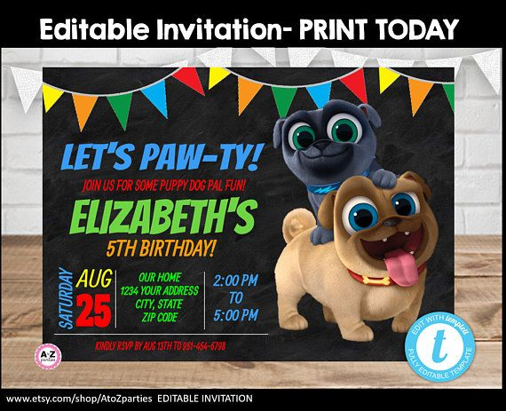 Puppy Dog Pals Puppy Invitation Colorful Template Puppy Dog Pal Printable Birthday Pu Puppy Invitations Colorful Invitations Invitation Printing