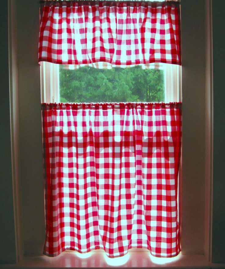 Gingham Curtains Red And White Gingham Curtains Kitchen: Red Gingham Cafe Curtain ..cotton Valance And Panel. $28