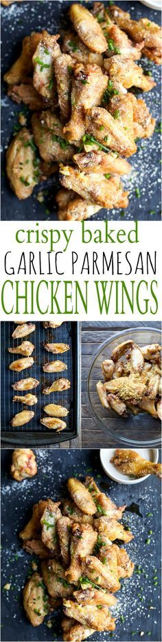 CRISPY GARLIC PARMESAN CHICKEN WINGS - baked instead of fried but these classic chicken wings are still as crispy and delicious as ever! The perfect party appetizer or game day treat! | http://joyfulhealthyeats.com | Gluten Free Recipes