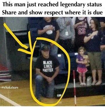 Albert Woolum, White Navy Veteran, Kneels in a Black Lives Matter Shirt During National Anthem to Support Girls' Volleyball Team, Sept. 27, 2016  #UnitedWeStand. #Justice4All. #SteinBaraka2016