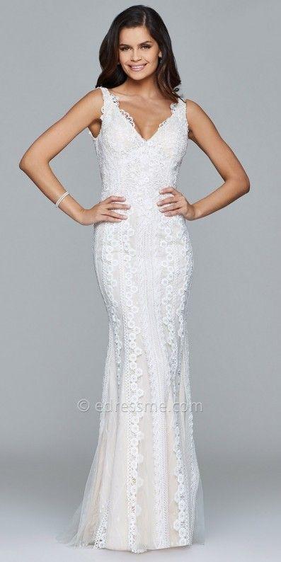 Faviana Lace Embroidered Plunging V-back Evening Dress at eDressMe #affiliatelink