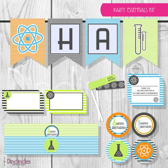 Mad Science Party - Instant Download - Boys Birthday - Party Essentials Kit - DIY Party Printables