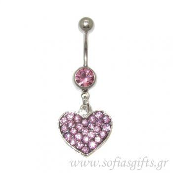 Piercing Κοιλιάς καρδιά ροζ με στρας - body piercing