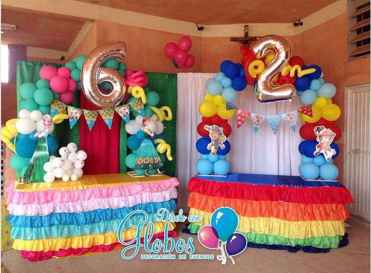 Frozen y Paw Patrol Party arco de globos