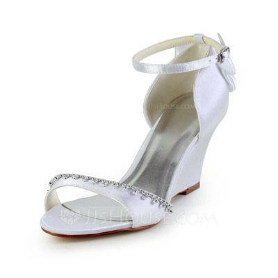 wedding shoes 5839 womens satin wedge heel sandals wedges with bowknot rhinestone 085026904