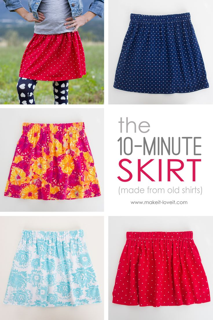 The 10-Minute Skirt (re-purposing old shirts into skirts) --- Make It and Love…