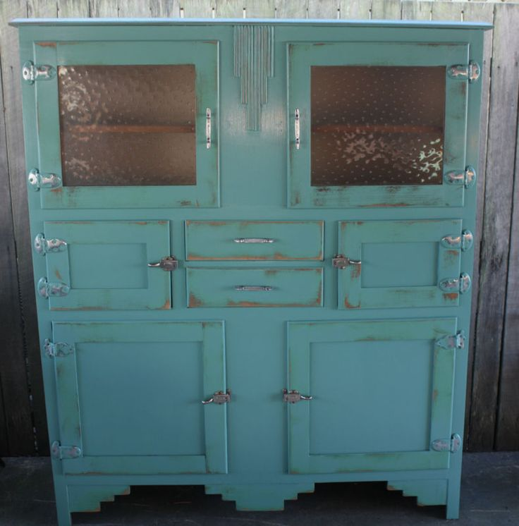 Antique Vintage Industrial Style Kitchen Hutch Dresser