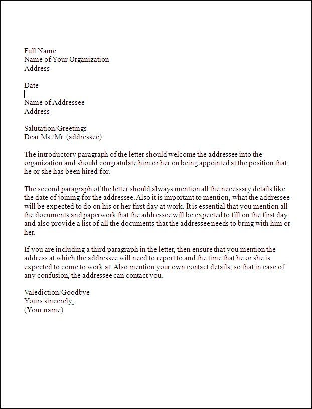 Sample Business Letter Format Formal Business Letter Format