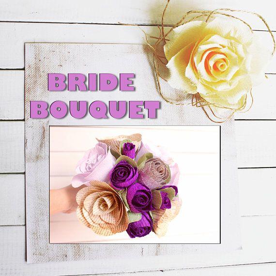 Bridal Bouquet Rustic Wedding bouquet Purple Crepe paper