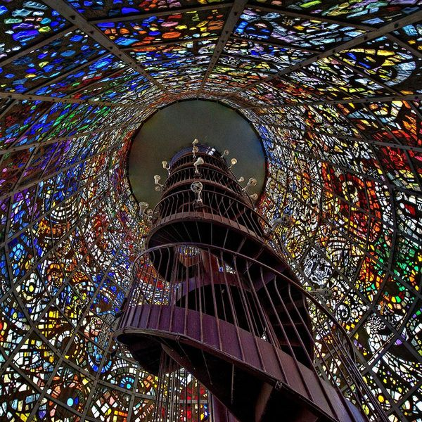 Inside the Symphonic Sculpture by Gabriel Loire at the Hakone Open Air Museum (彫刻の森 in Japanese) in Hakone, Kanagawa Prefecture, Japan.