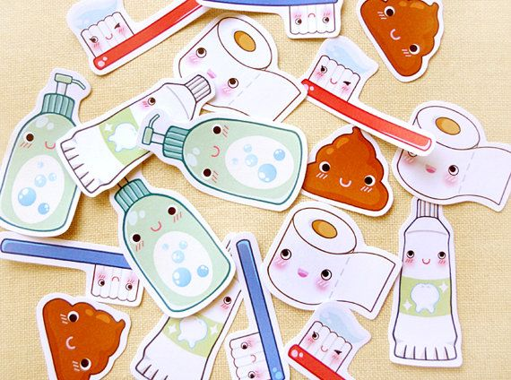 Cute Bathroom Sticker Flakes Pack of 18 Kawaii by BeagleCakesArt, $4.80