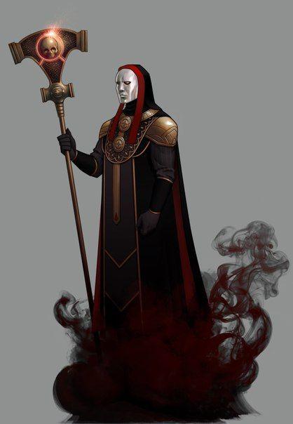 Tyranny White mask, priest, holy, dark god, gold, red, black.