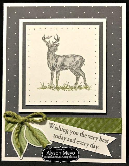 Deer Birthday card  (in grey)