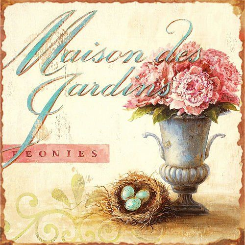 Shabby Rustic French Style Floral Metal Signs
