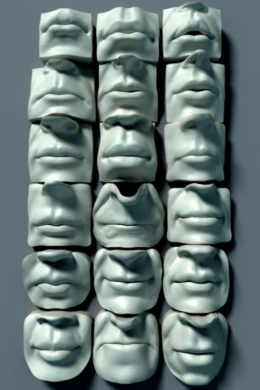 collection of cups -have each face be the same expression and the other side of cup a different texture/color