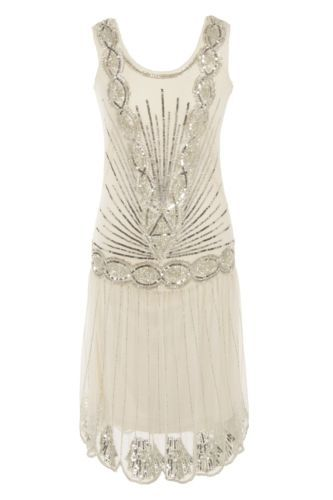 Cream Silver Sequin Charleston Flapper UK 12 14 16 Gatsby Dress 1920's Art Deco   eBay, Great Gatsby Wedding, Art Deco wedding, wedding ideas, #weddings, #gamos