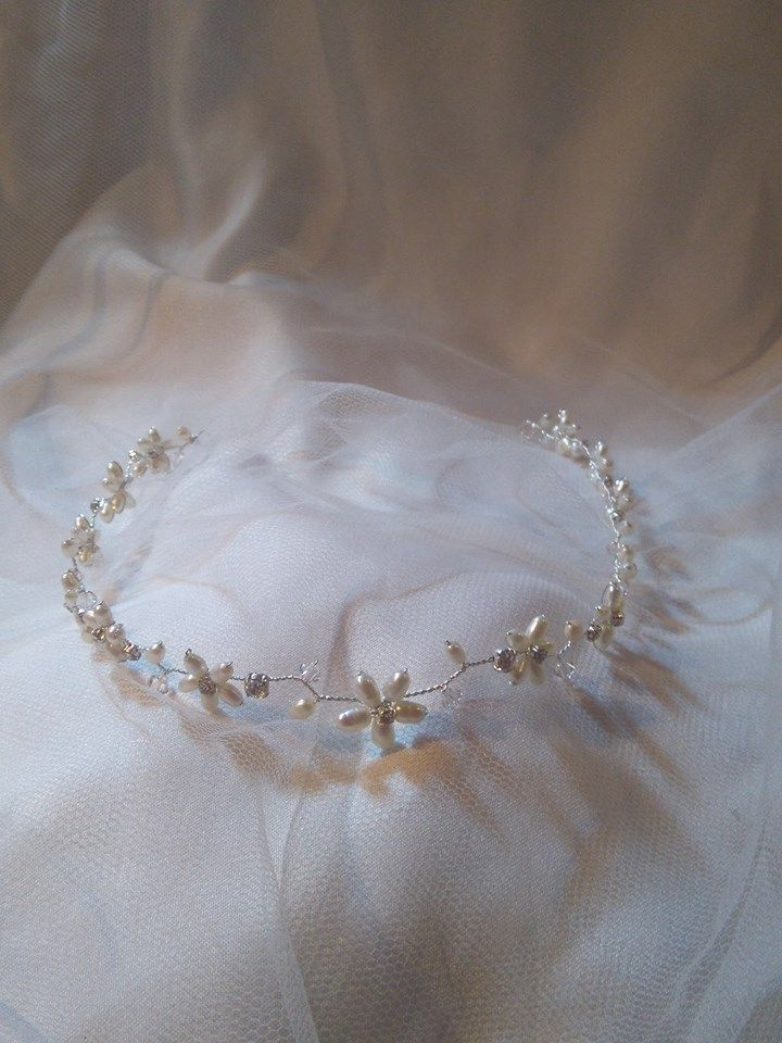Headband browband forehead band hair vine boho pearl flower wedding bridal tiara