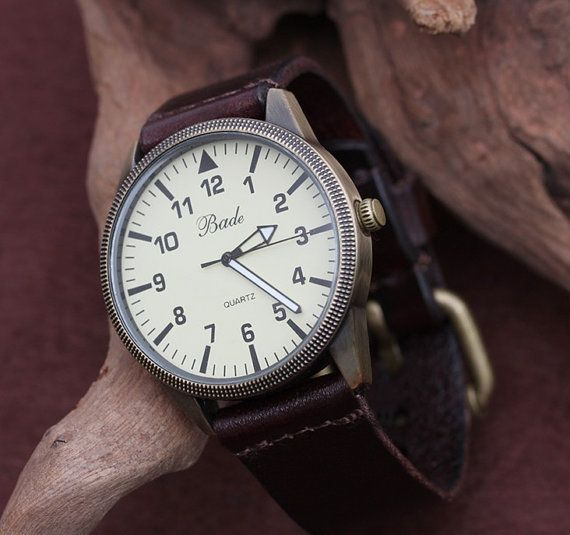 Leather Men Watch by MyWatch on Etsy, $16.50