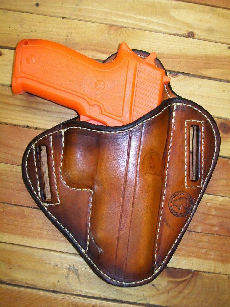 Pancake holster for a Sig Sauer pistol, made at Boulder Creek Saddle Shop, Kettle Falls, WA