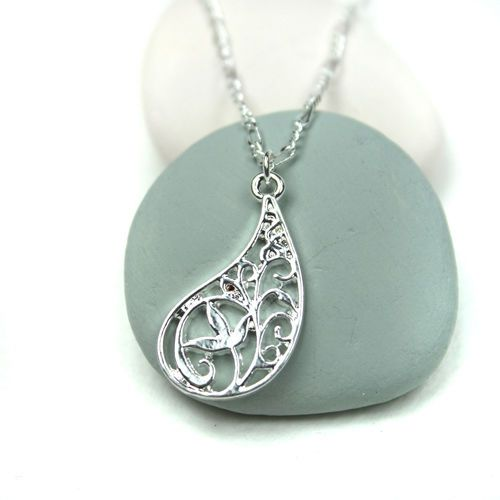 Silver Plated Paisley Shape Flower Necklace | eBay
