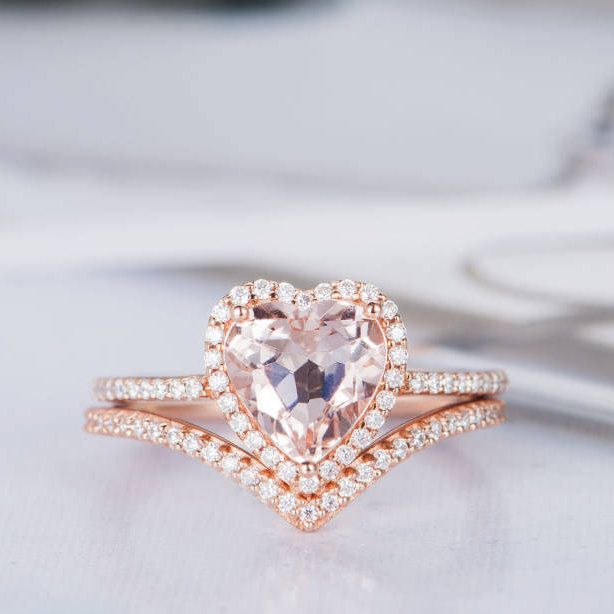Heart Shaped Engagement Ring Set Morganire Wedding Ring Rose Gold