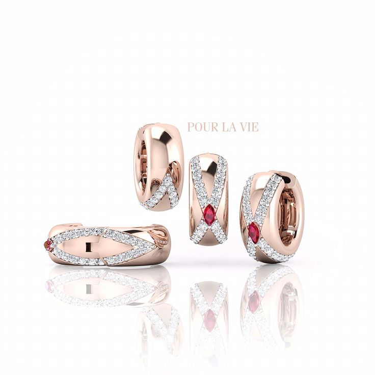 18k rose gold earrings with marquise diamond!  Email: designer@pourlavie.com