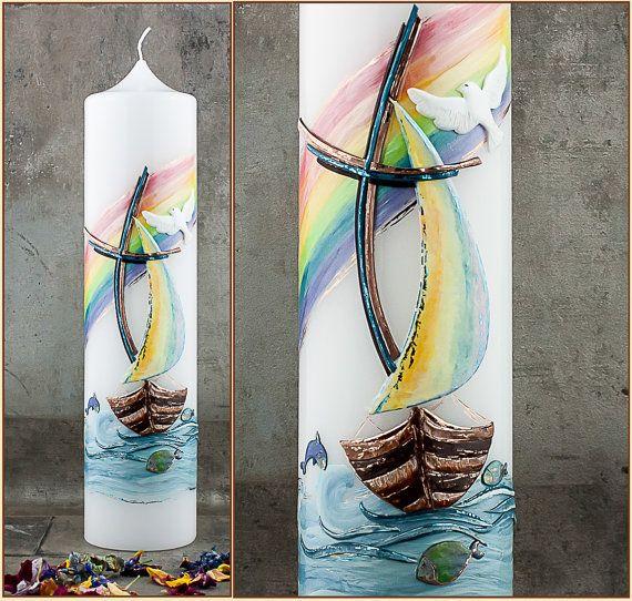 Taufkerze Fischerboot Kerze Taufe personalisiert mit von Kreatiwita #etsy #etsyseller #taufkerze #kunsthandwerk