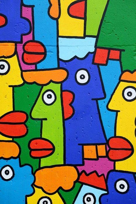 Colourful Faces Painting from $34.99 | www.wallartprints.com.au #ArbanArt #WallArtPrints