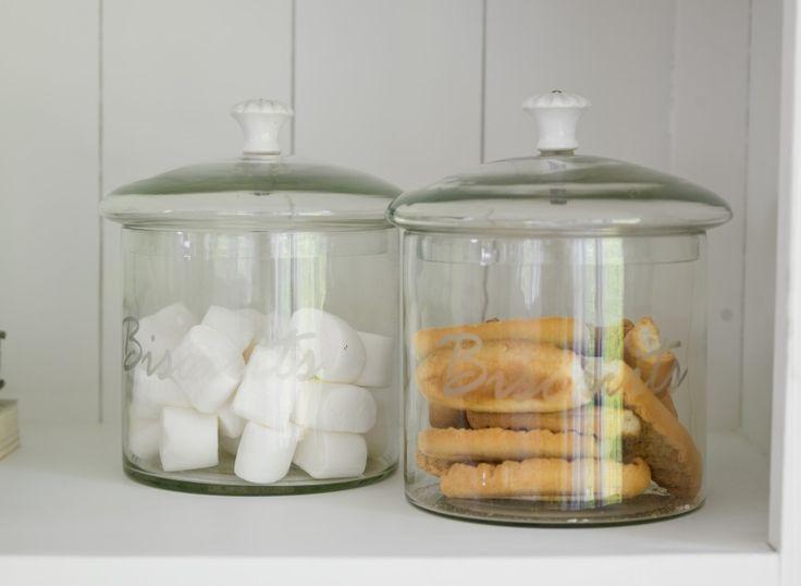 Glass biscuit jars