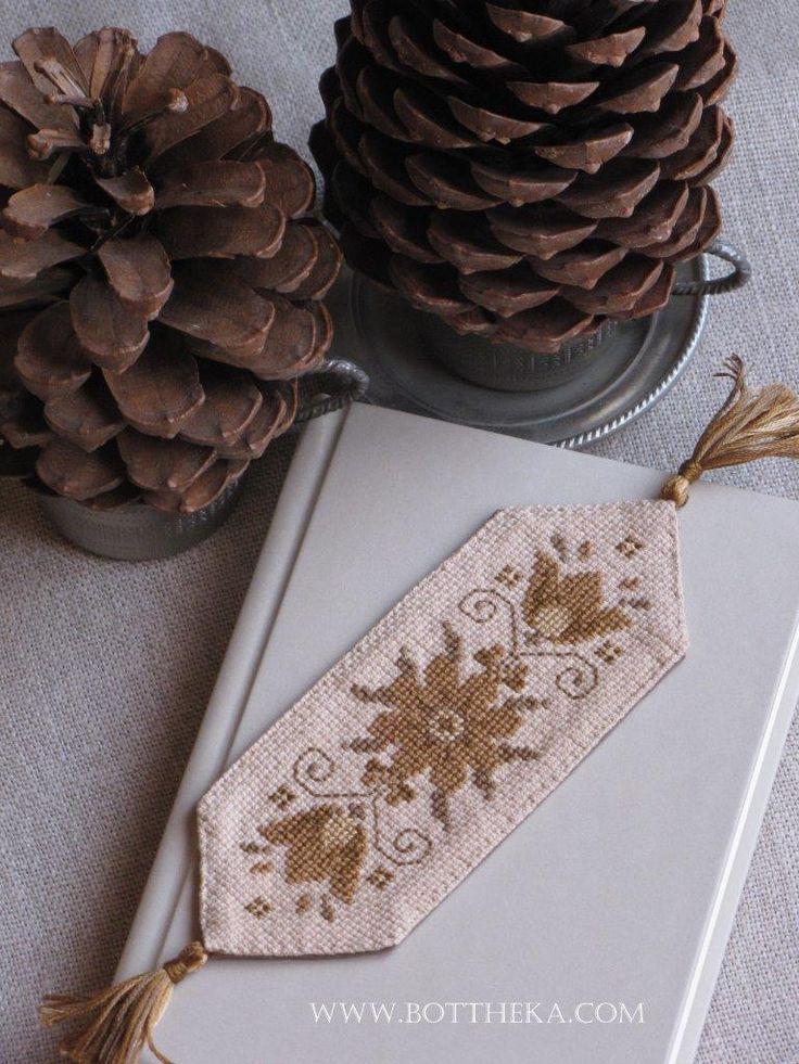 MeMe Flowers Antique Brown bookmark  cross stitch pattern Botthéka@2015 …and the other variations…http://bottheka.com/en/antique-brown