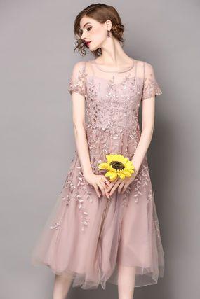 ドレス-ミニ・ミディアム おしゃれ 半袖 刺繍 2色 結婚式 パーティー ドレス