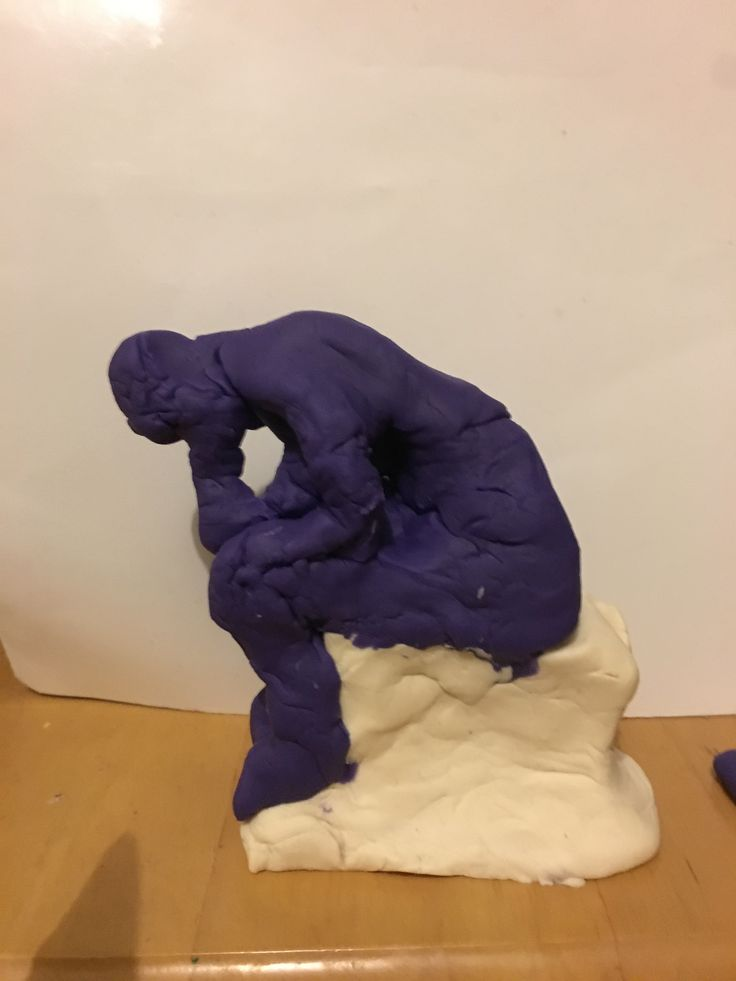 Playdoh statue of Rodins the Thinker