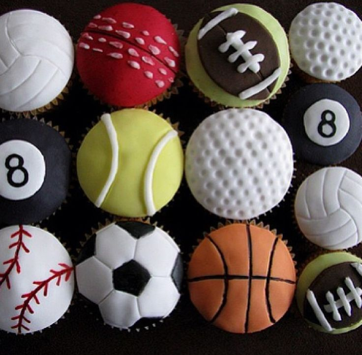 Sports Cupcakes!! I love volleyball and softball!! I love sports!!