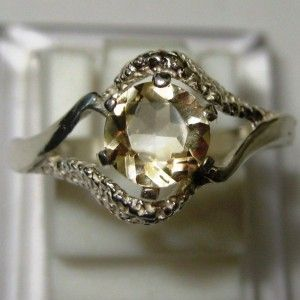 Citrine Swirl Silver Ring Size 8US