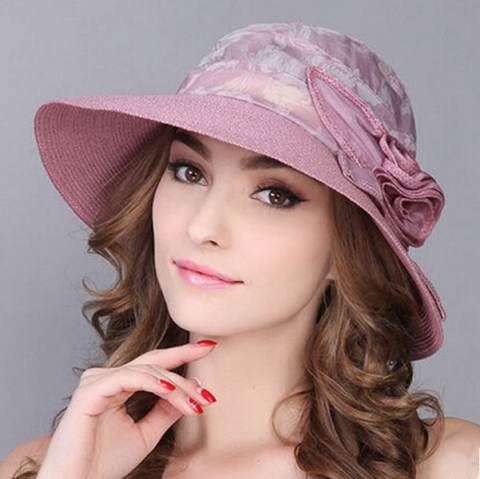 Ladies sun hat with flower for beach package straw hat UV
