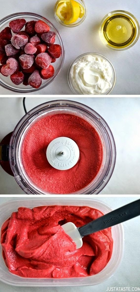 Healthy Strawberry Frozen Yogurt.