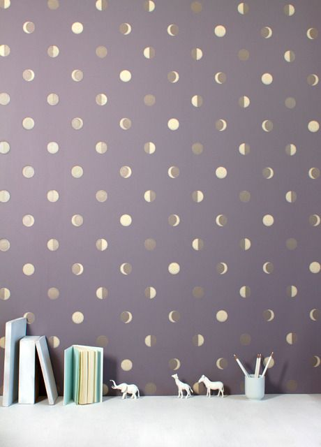 Lunar crescent wall paper. Beautiful and poetic wall paper that I wouldn't mind sleeping below.