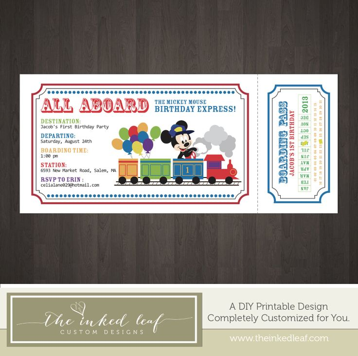 Train Ticket Mickey Mouse Conductor w/ Train and by TheInkedLeaf, $15.00