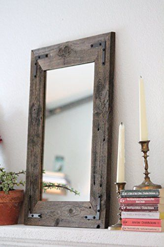 "Brand: Hurd & Honey Details: Reclaimed Wood Framed Mirror 18"" x 24"" • Frame 3"" Wide • Mirror Glass 12"" x 18"" • Built with reclaimed wood • 1/4"" quality mirror glass • Metal accent brackets fastened to"