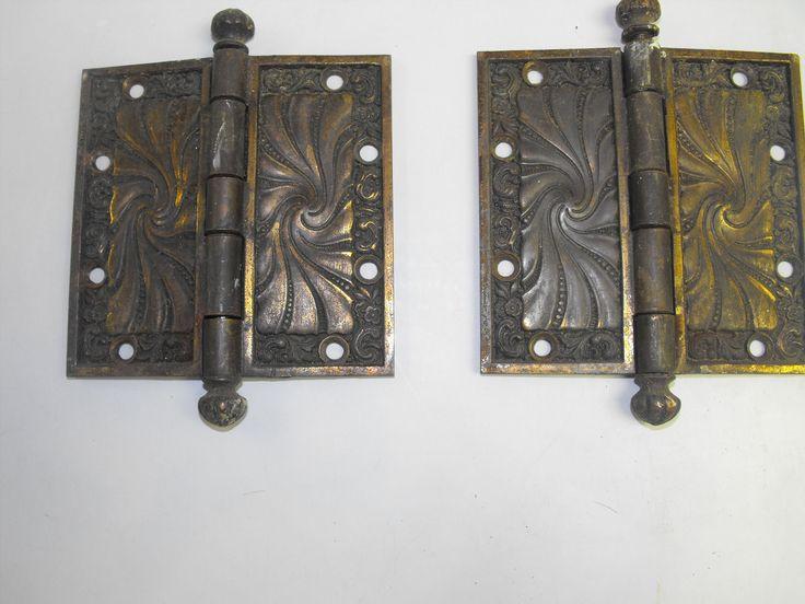 2 Victorian Fancy Nouveau Antique Cast Brass Door Hinges 4 5x4 5\  C1891   eBay & 489 best Old door hardware images on Pinterest   Lever door handles ...