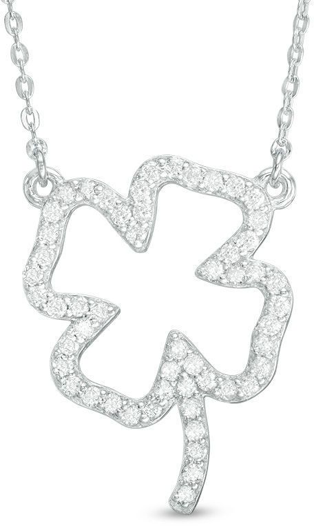 Zales 1/3 CT. T.W. Diamond Four Leaf Clover Necklace in Sterling Silver