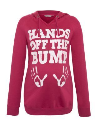 Bright Pink (Pink) Maternity Pink Hands Off The Bump Hoodie... Where was this when I was pregnant!?
