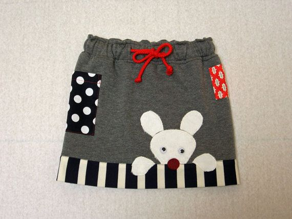 Funny Bunny Skirt, children's pdf sewing pattern with Bunny applique sizes 1 to 8 years girl's skirt pattern on Etsy, US$7.95