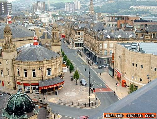 Aerial view of Halifax town centre showing the Victoria Theatre.