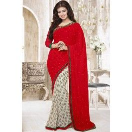 Presenting Red and Off White Faux Georgette #Casual #Saree with Printed,Stone Work and Lace Work. Order Now@ http://zohraa.com/sarees/sari/casual-sarees/ayesha-takia-saree-red-and-off-white-faux-georgette-casual-saree.html Rs. 1299.